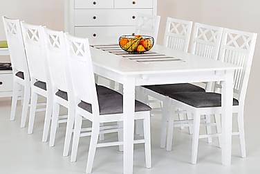 SJÖVIK Matbord 180 + 8 Stolar Vit/Grå