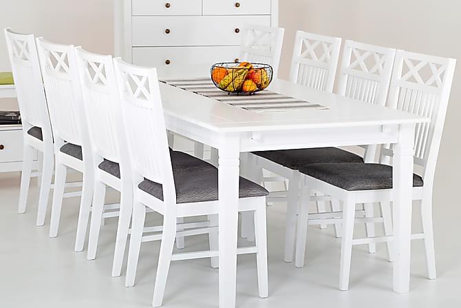Prima SJÖVIK Matbord 180 + 8 Stolar Vit/Grå - Matgrupper - Bord MZ-46