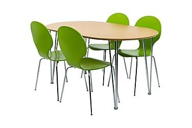 STINA Matbord Ovalt Trä + 4 NINA Stol Lime