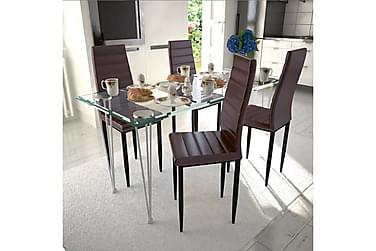 ZOTTI Bord 120 Glas + 4 Stolar Konstläder Brun