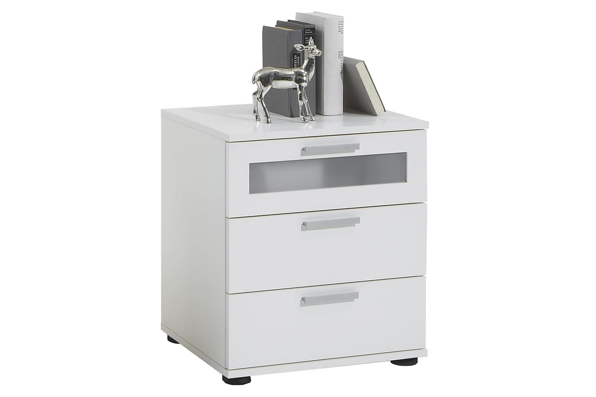 FMD Nattduksbord med 3 lådor vit, Rullbord