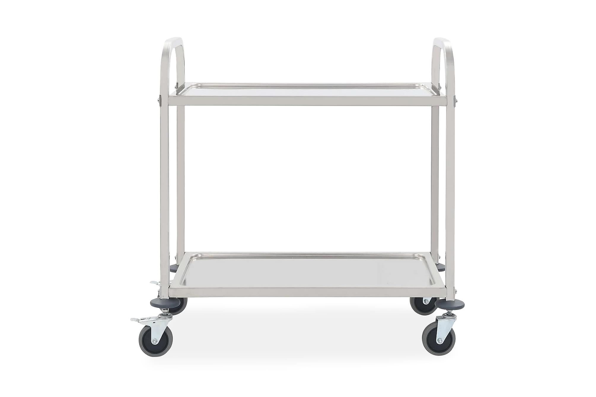 Serveringsvagn 2 våningar 107x55x90 cm rostfritt stål
