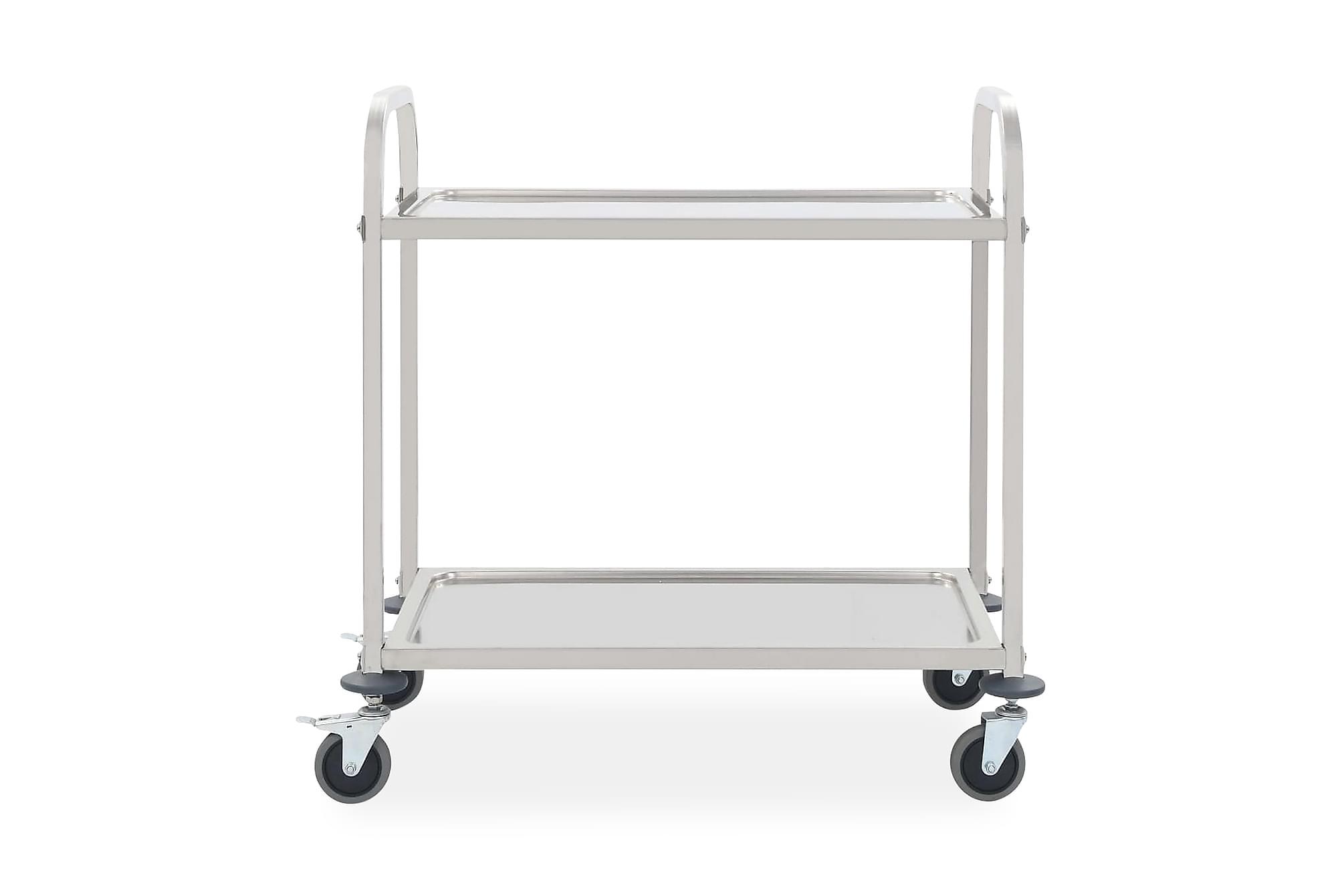 Serveringsvagn 2 våningar 87x45x83,5 cm rostfritt stål