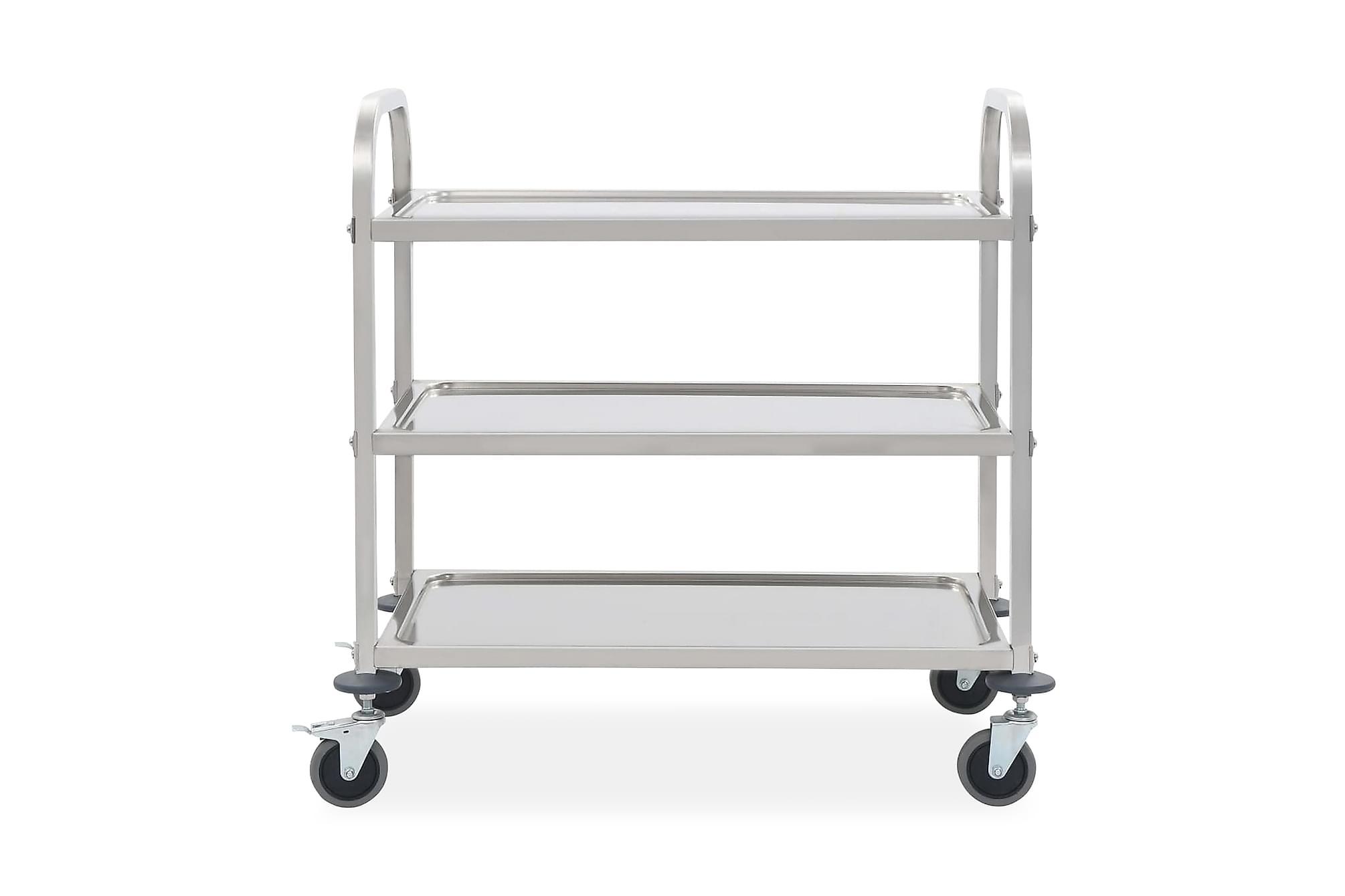 Serveringsvagn 3 våningar 107x55x90 cm rostfritt stål