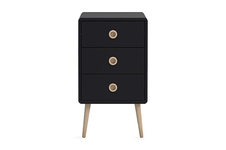 ETHAN Sängbord 3 Lådor Svart/Ek - Möbler & Inredning - Bord - Sängbord