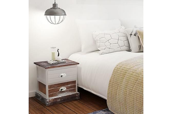 Nattduksbord 2 st brun och vit - Vit|Brun - Möbler & Inredning - Bord - Sängbord