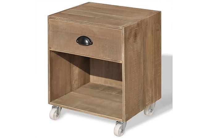 Nattduksbord brun massivt trä - Beige - Möbler & Inredning - Bord - Sängbord