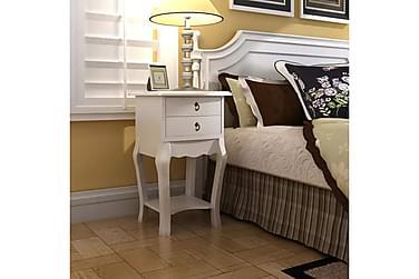 OSBOURNE Sängbord 2 Lådor 40x30 Vit