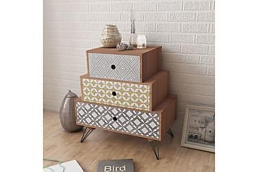 POMSKY Sängbord 3 Lådor 52x30 Brun
