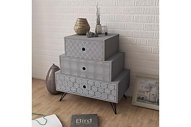 POMSKY Sängbord 3 Lådor 52x30 Grå