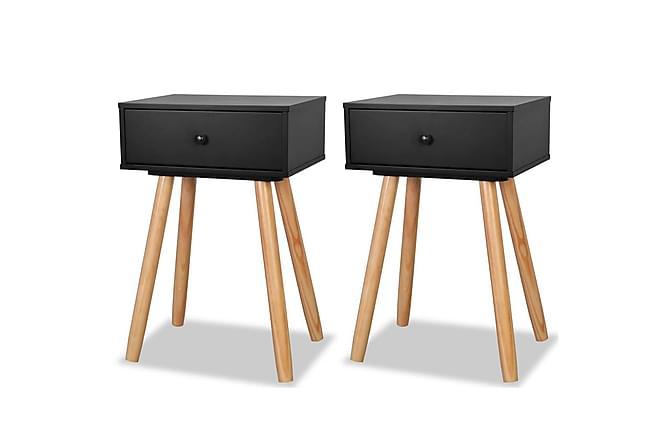Sängbord 2 st massiv furu 40x30x61 cm svart - Beige|Svart - Möbler & Inredning - Bord - Sängbord