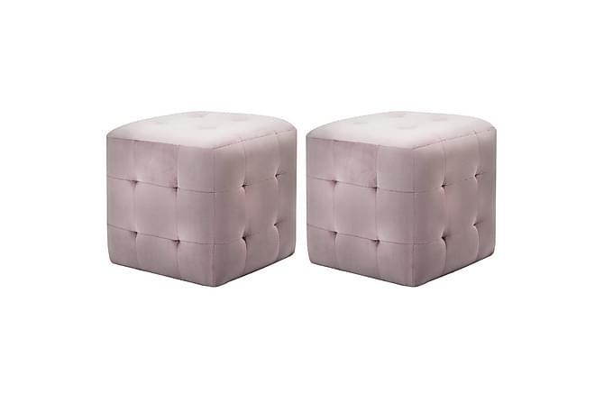 Sängbord 2 st rosa 30x30x30 cm sammetstyg - Rosa - Inomhus - Bord - Sängbord