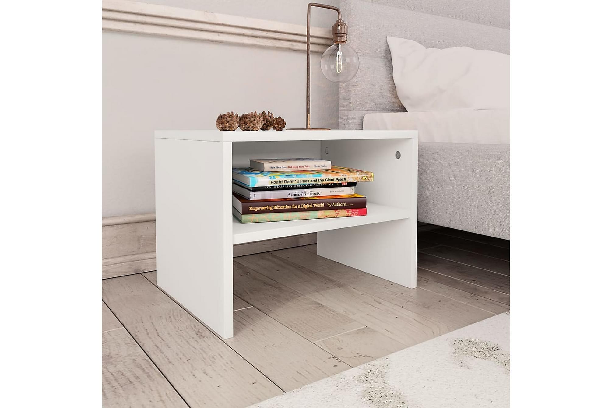 Sängbord 2 st vit 40x30x30 cm spånskiva