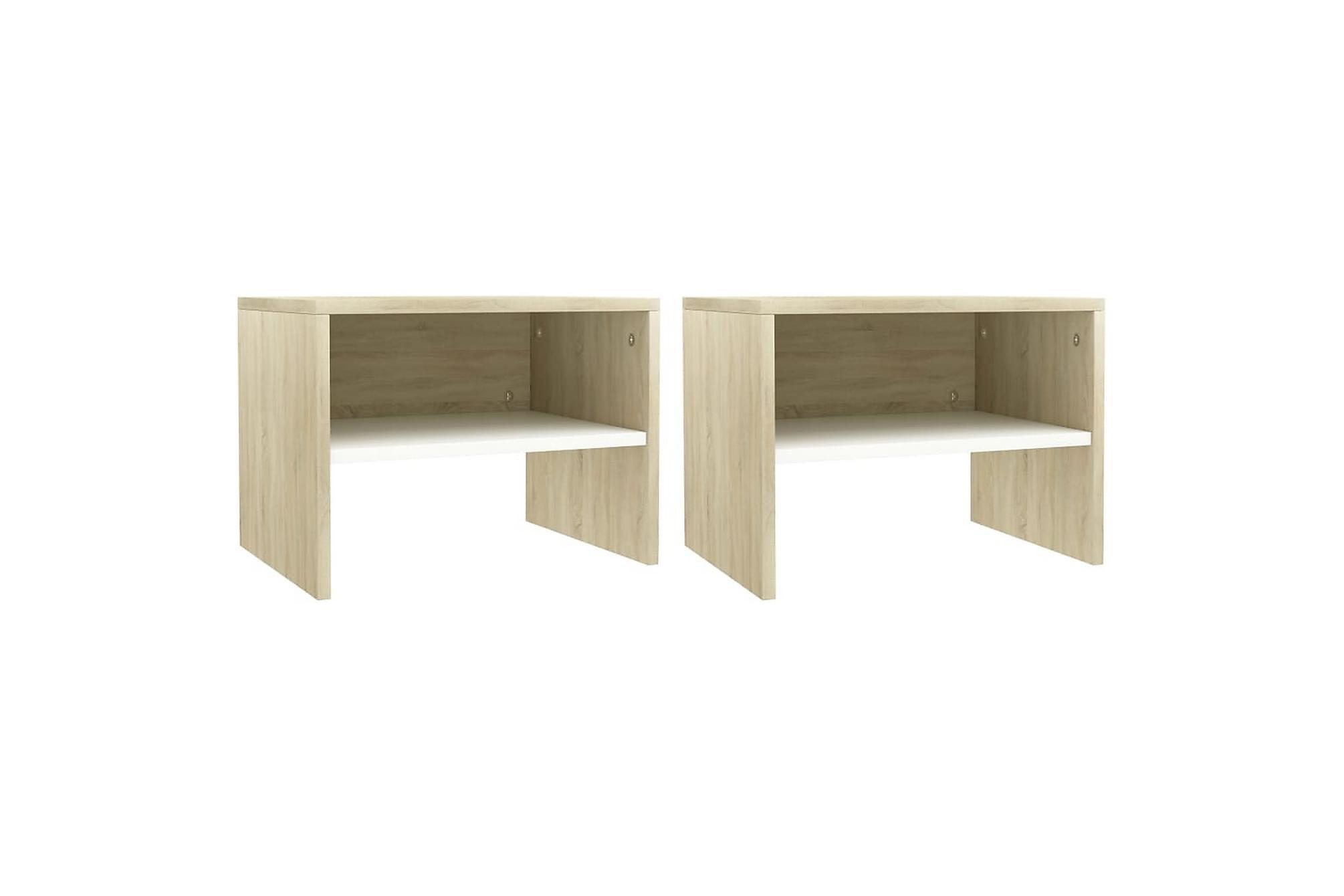 Sängbord 2 st vit och sonoma 40x30x30 cm spånskiva