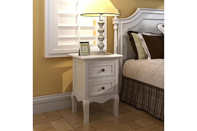 Sängbord 4 st m. 2 lådor MDF vit - Inomhus - Bord - Sängbord