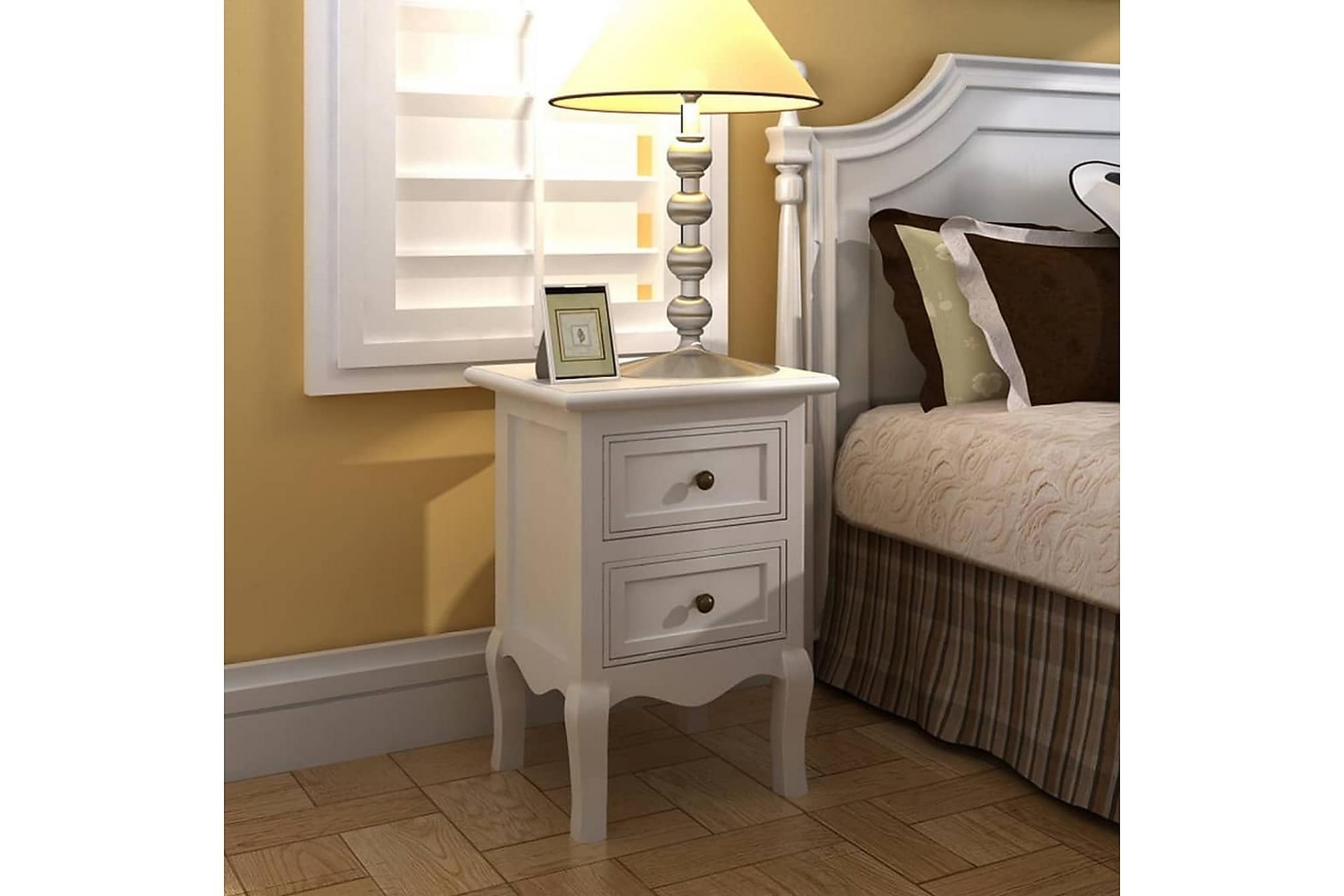Sängbord 4 st m. 2 lådor MDF vit