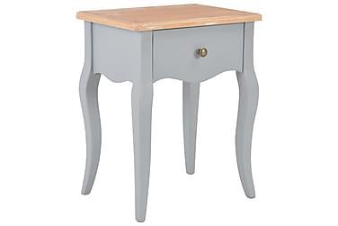 Sängbord grå och brun 40x30x50 cm massiv furu