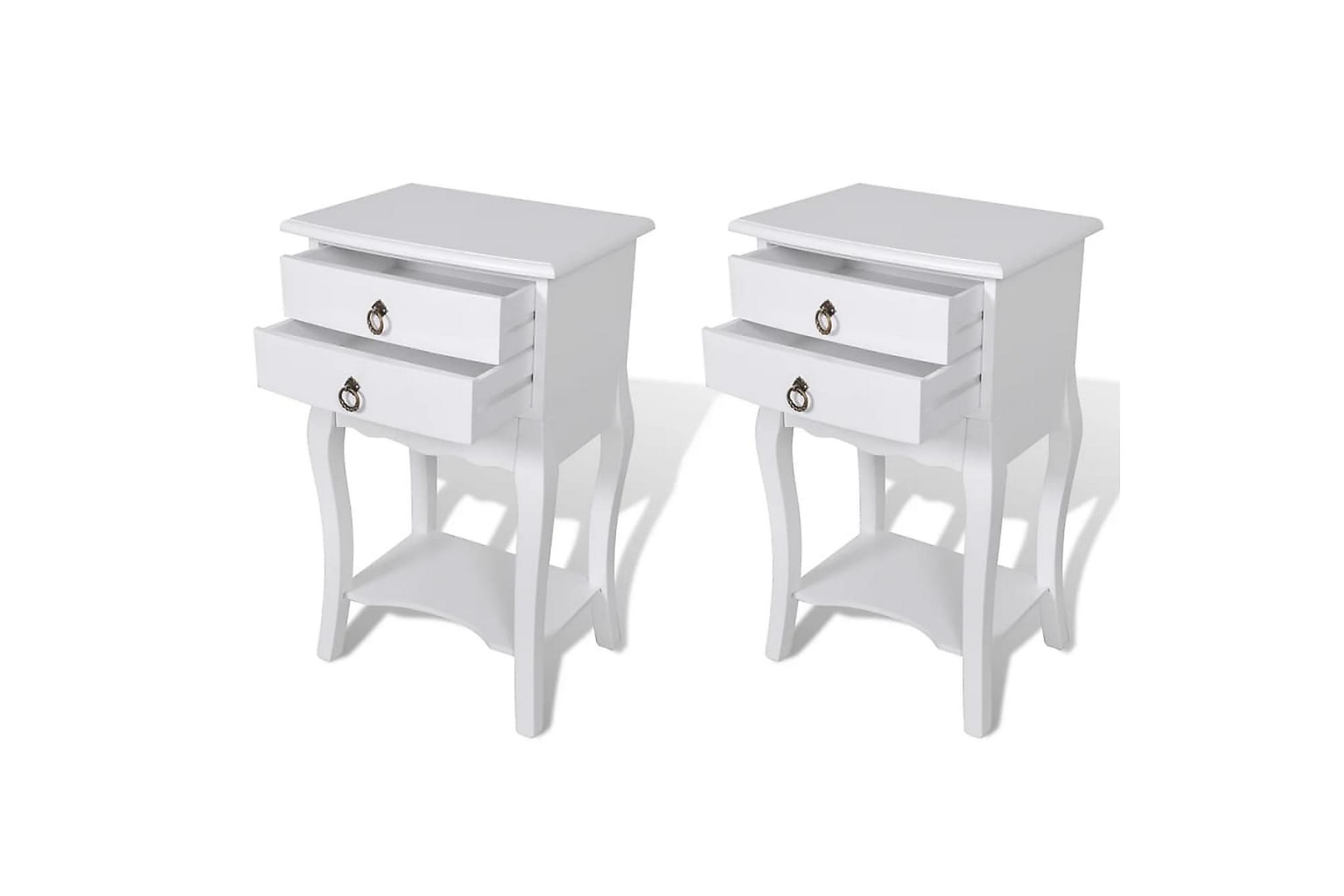 Sängbord m. lådor 2 st vit