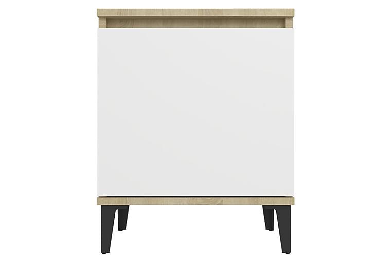 Sängbord med metallben 2 st sonoma-ek och vit 40x30x50 cm - Beige - Möbler & Inredning - Bord - Sängbord