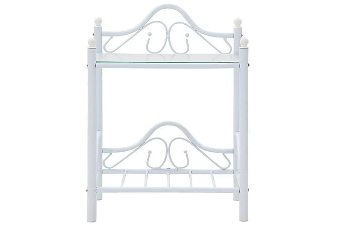 Sängbord stål och härdat glas 45x30,5x60 cm vit - Inomhus - Bord - Sängbord