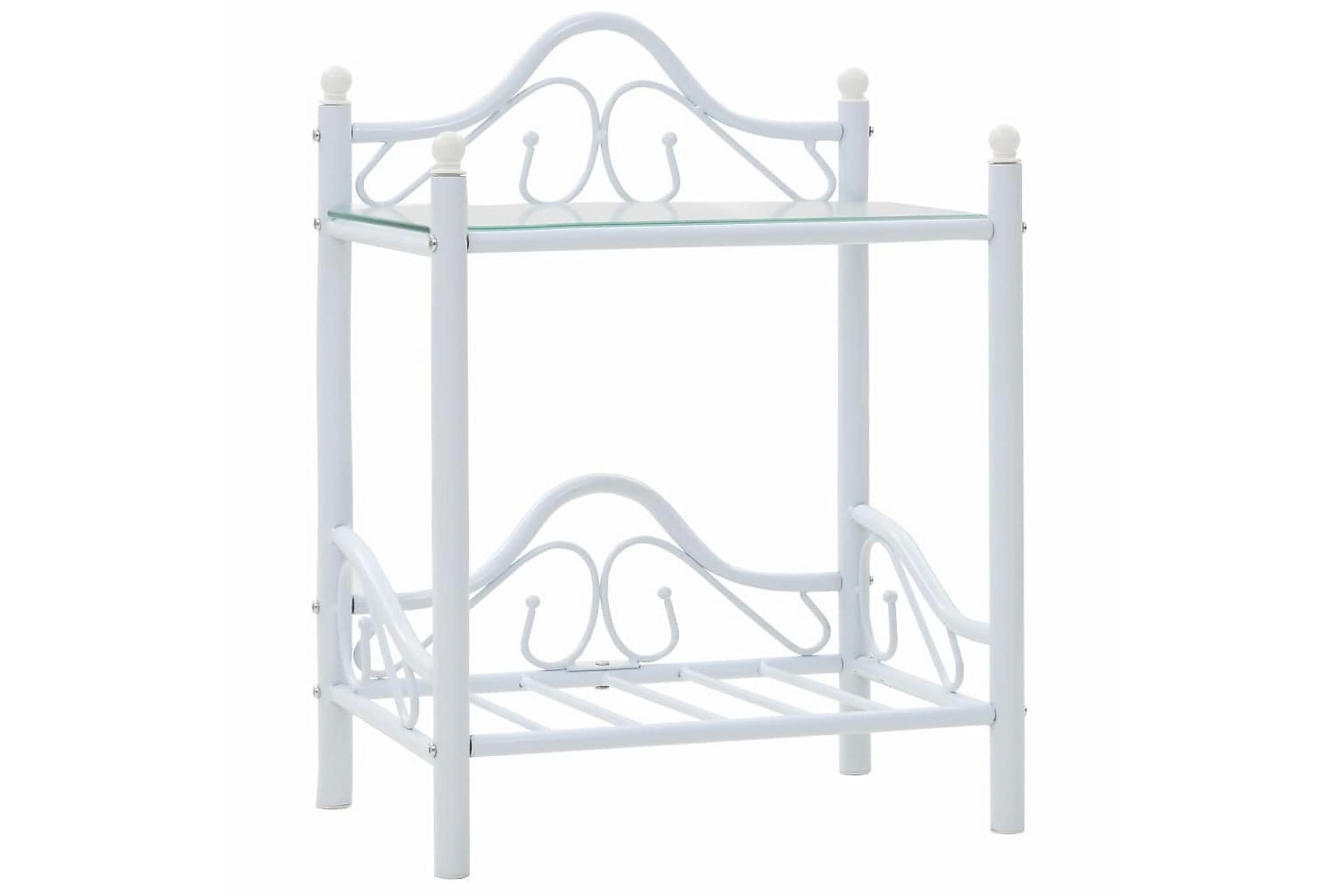Sängbord stål och härdat glas 45×30,5×60 cm vit