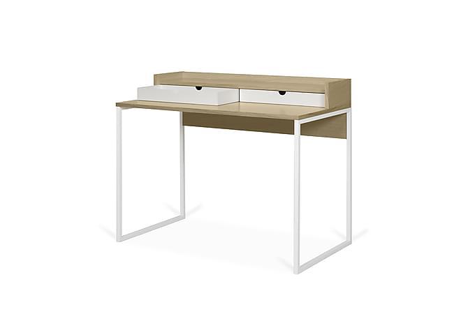 CAROLANN Skrivbord 100 med Lådor Vit/Trä/Natur - Möbler & Inredning - Bord - Skrivbord