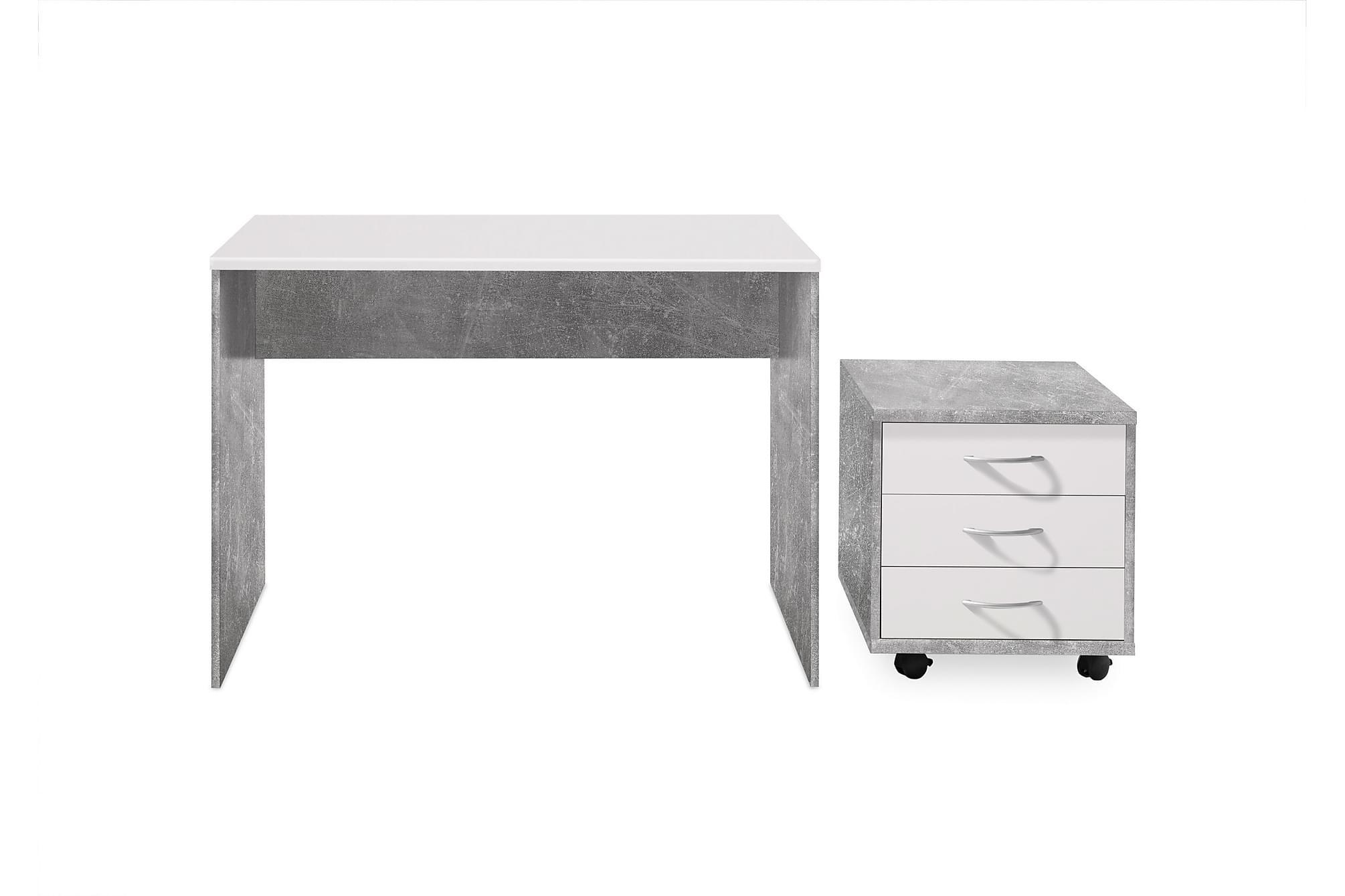 GERRARD Skrivbord 106 cm Grå/Vit