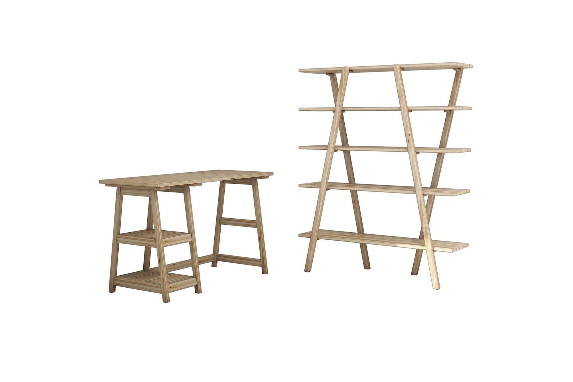 Refugia skrivbord/bokhylla ljus trä