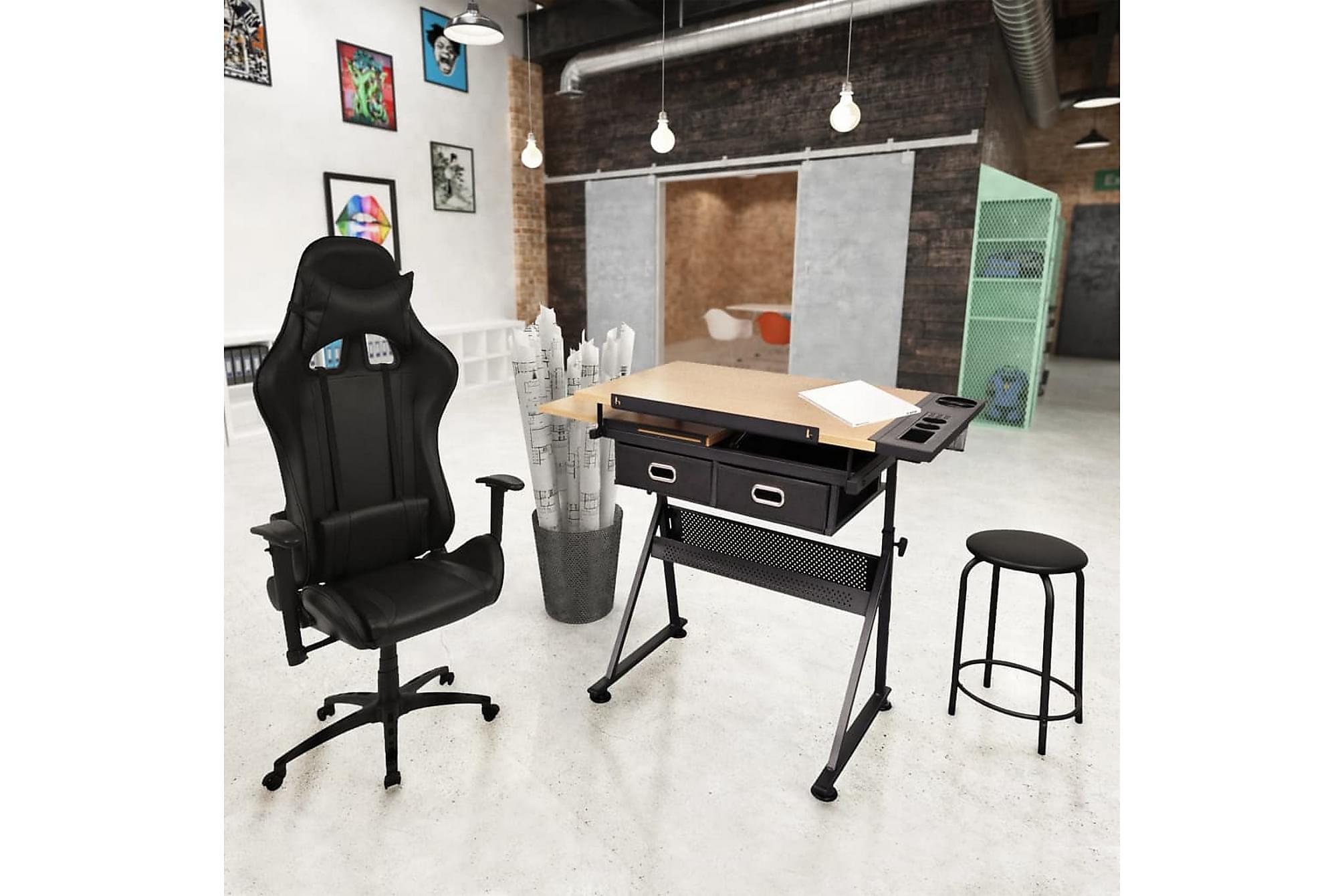 Ritbord med justerbar bordsskiva och racing kontorsstol