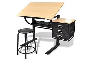 VINKLINGSBART ritbord med 3 lådor och 1 pall