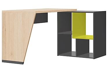WHIZ Skrivbord 130 med Bokhylla Grå/Ek/Limegrön