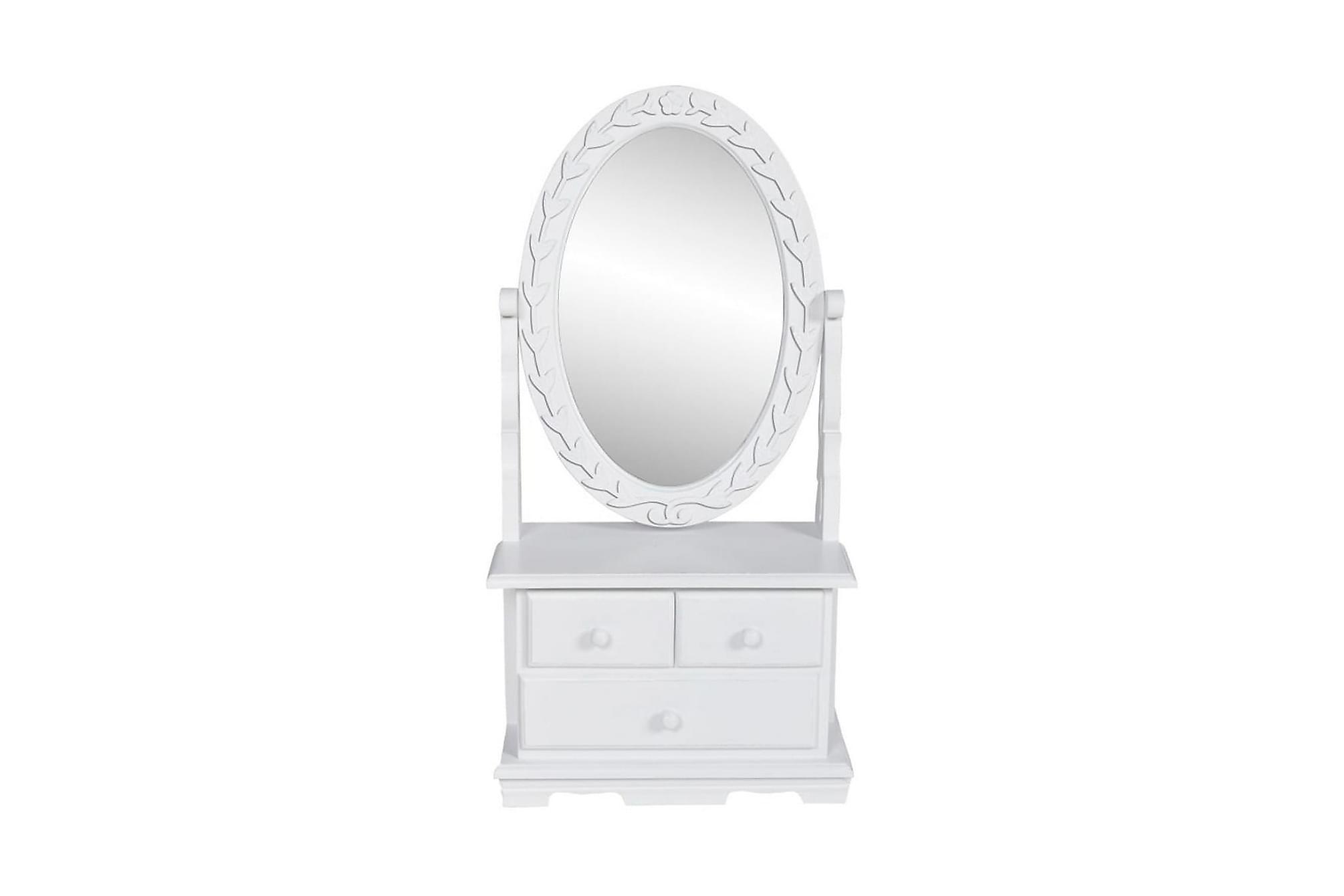 Bordsspegel med justerbar oval spegel MDF, Sminkbord