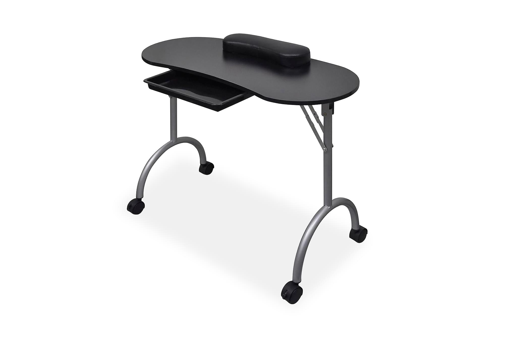 Hopfällbart manikyrbord med hjul svart, Sminkbord