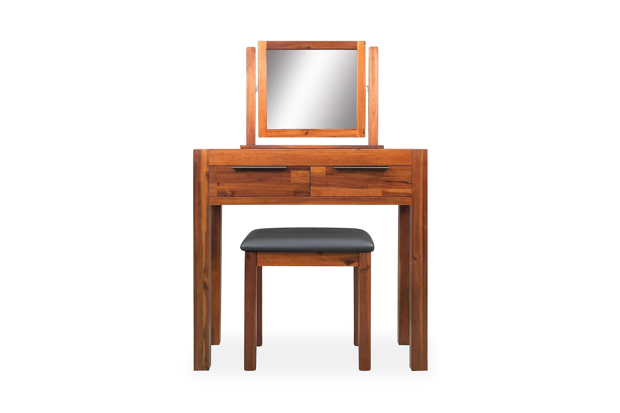 Sminkbord m. pall & spegel massivt akaciaträ