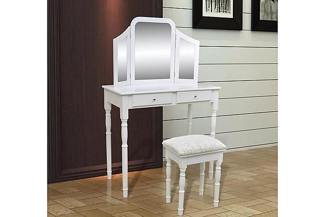 Sminkbord med 3-i-1 spegel och pall 2 lådor vit - Vit - Möbler & Inredning - Bord - Sminkbord