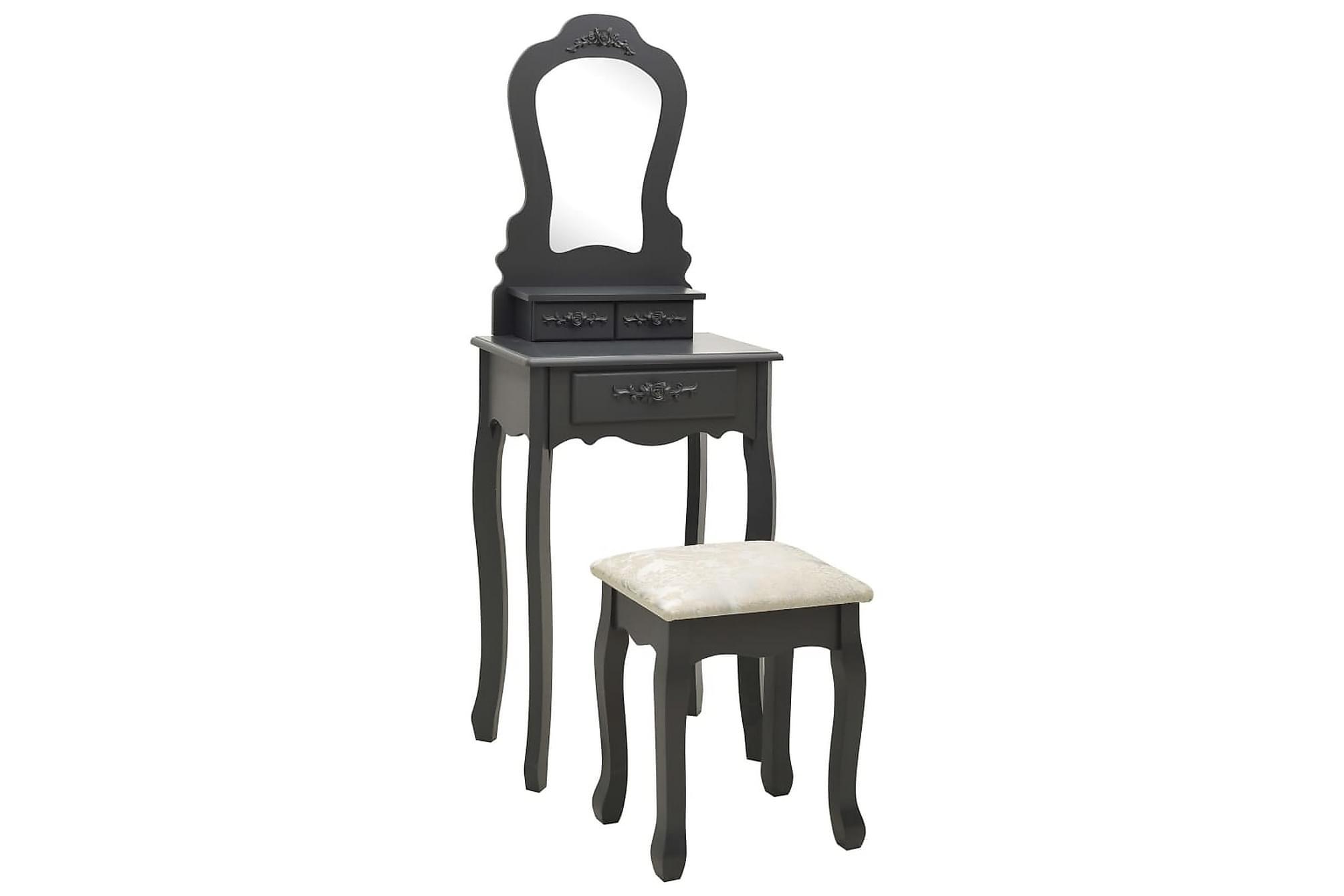 Sminkbord med pall grå 50x59x136 cm paulowniaträ, Sminkbord