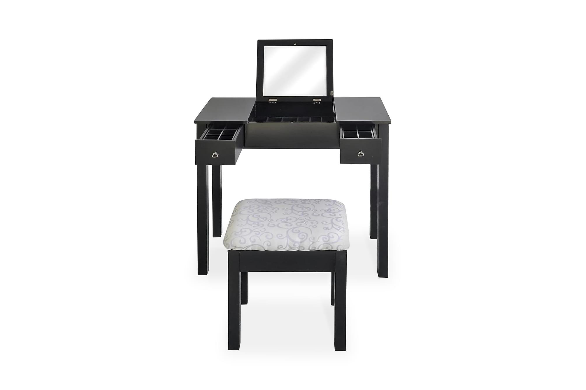 Sminkbord med pall och 1 uppfällbar spegel svart, Sminkbord