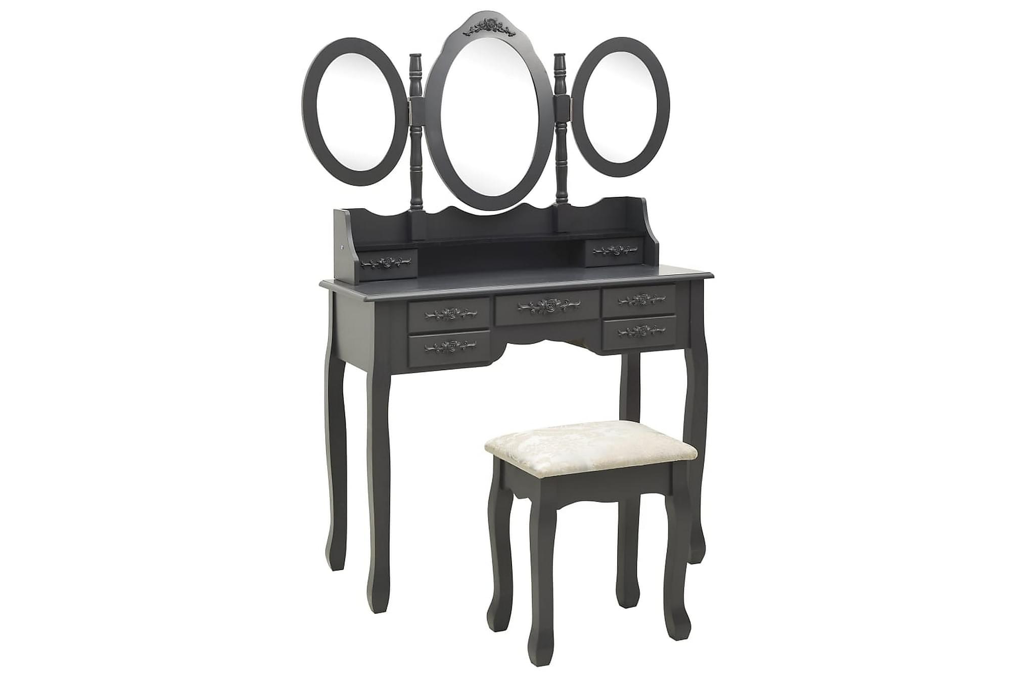 Sminkbord med pall och 3 speglar grå, Sminkbord