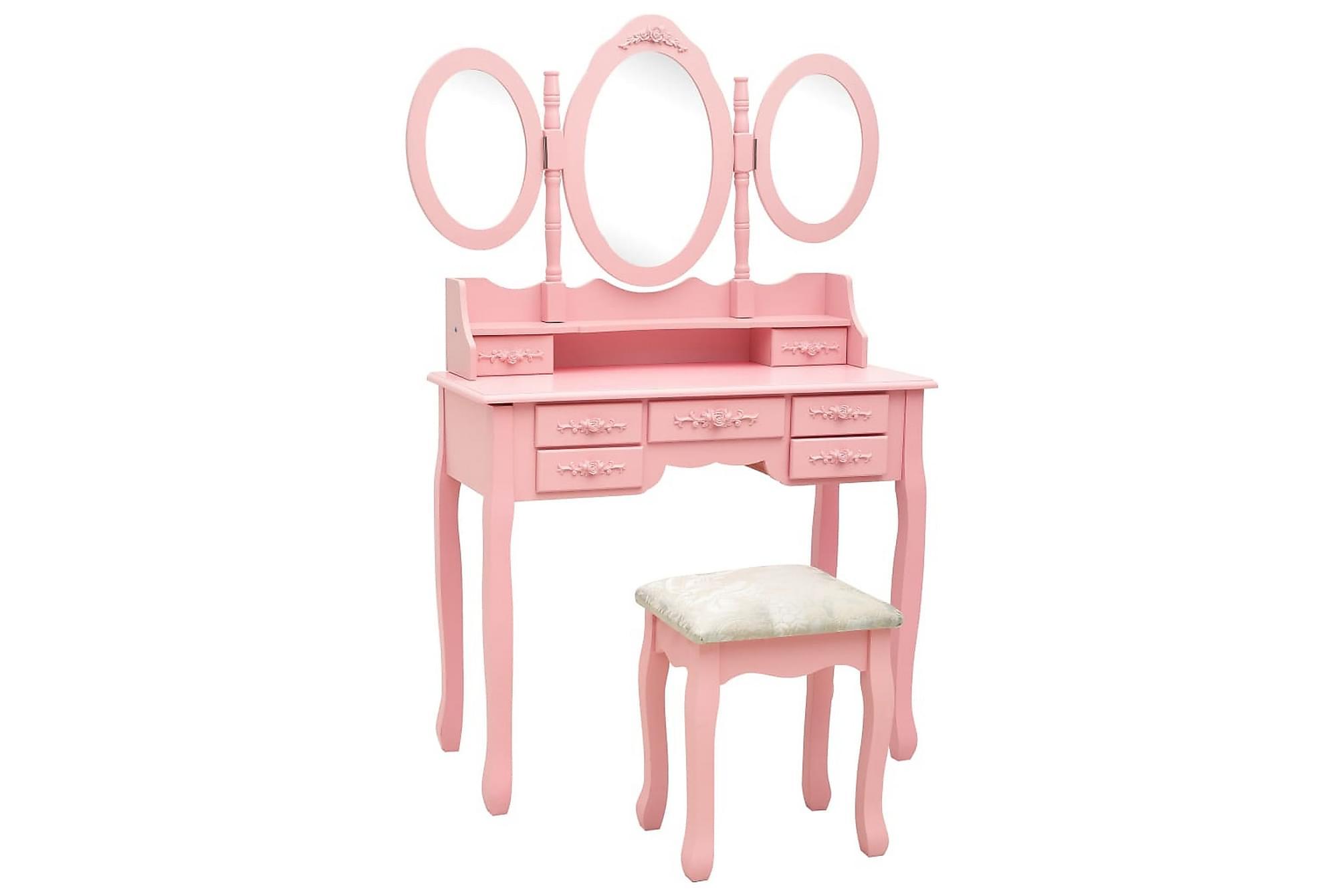 Sminkbord med pall och 3 speglar rosa, Sminkbord