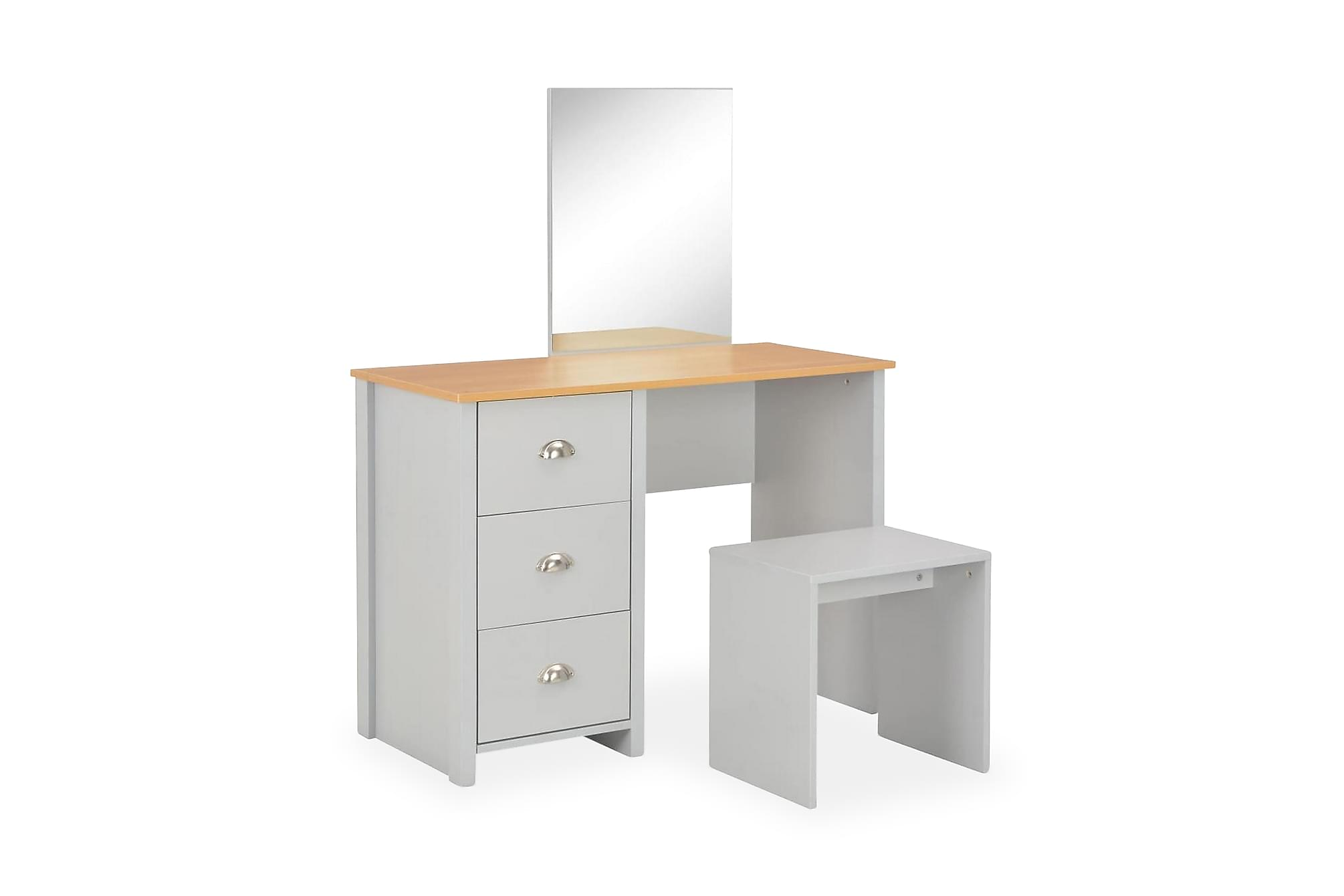 Sminkbord med spegel och pall grå 104x45x131 cm
