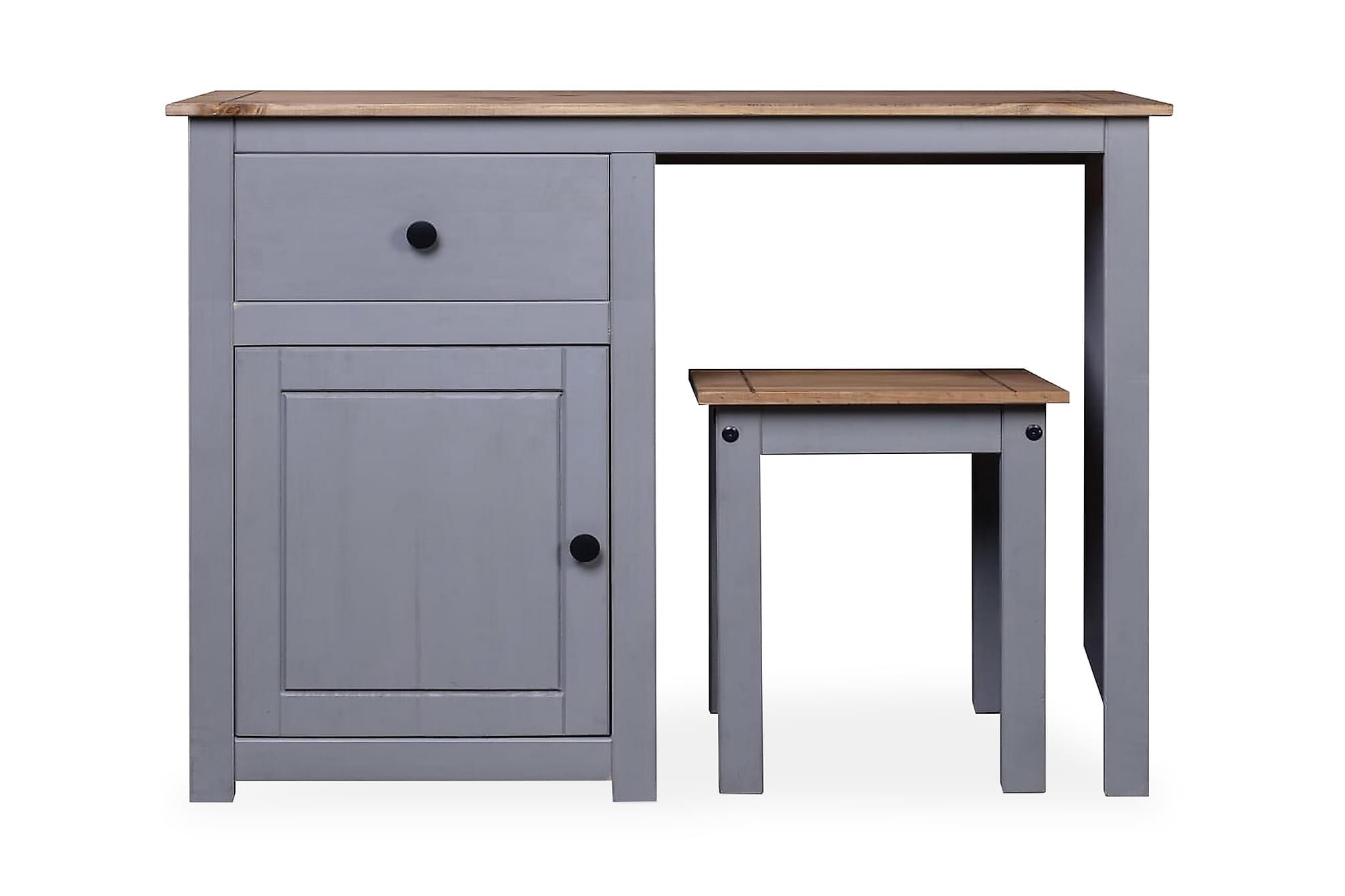 Sminkbord set 2 delar grå massiv furu panama