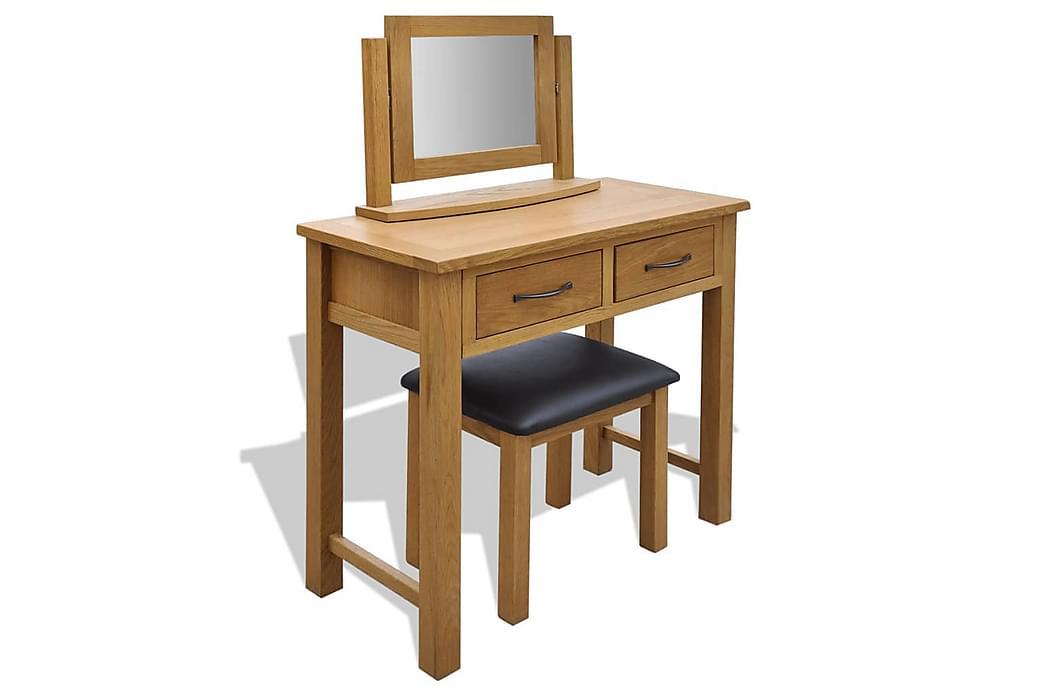 Toalettbord med pall massiv ek - Brun - Möbler & Inredning - Bord - Sminkbord