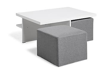 BONDI Soffbord 100 med 2 Pallar Vit/Ljusgrå