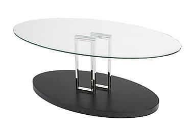 OMATE Soffbord 120 Glas Transparent/Svart