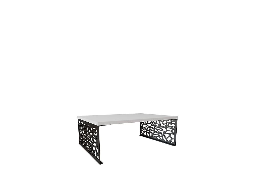 Pales Soffbord 100x70x45 cm - Svart Vit Högglans - Möbler & Inredning - Bord - Soffbord