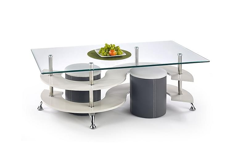 RICCIARDI Soffbord med Pallar 140x70 Glas Grå/Vit - Möbler & Inredning - Bord - Soffbord