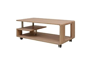 ROMANUS Soffbord med Hjul + Hylla 110x55 Natur