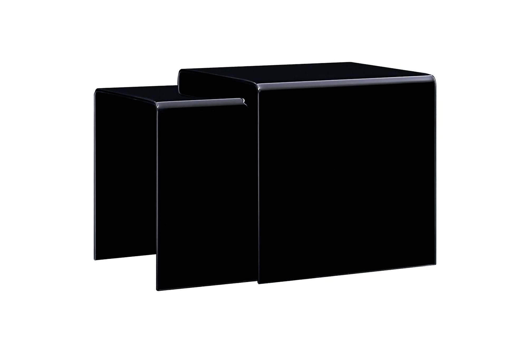 Satsbord 2 st svart 42x42x41,5 cm härdat glas