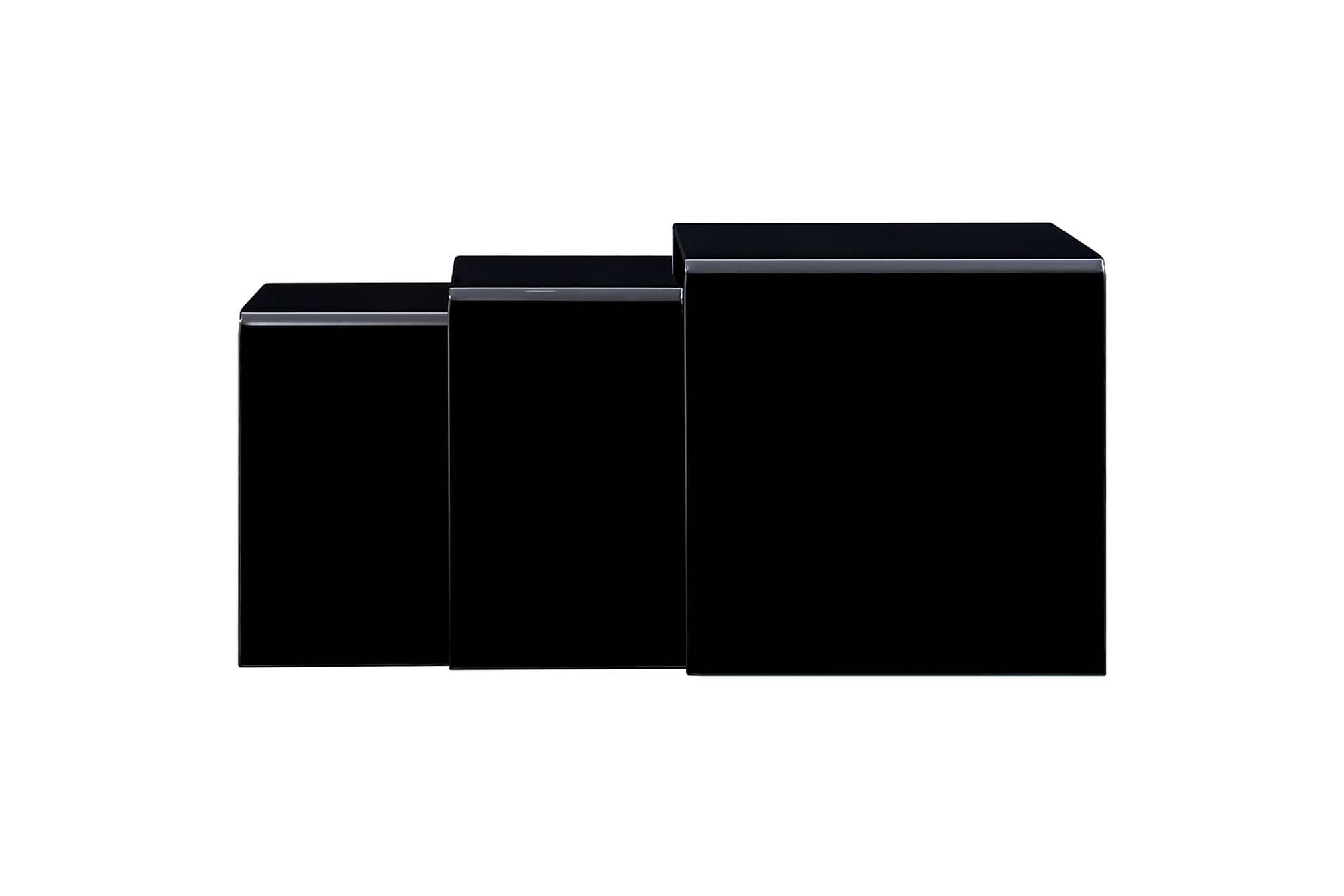Satsbord 3 st svart 42x42x41,5 cm härdat glas