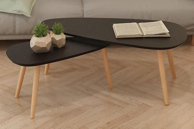 Soffbord 2 st massiv furu svart - Svart - Möbler & Inredning - Bord - Soffbord